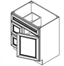 Vanity Sink Bases-Single Door Double Drawer Single Drawer Front Door On The Right