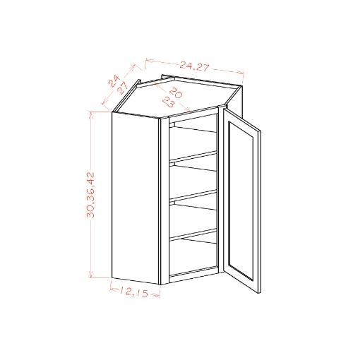 "Diagonal Corner Wall Cabinets- 24""W"