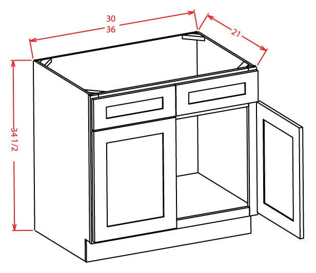 Vanity Sink Bases-Double Door Double Drawer Front
