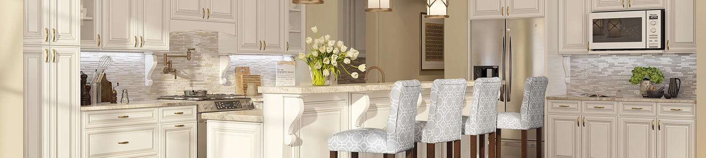 Columbia Antique White Kitchen Cabinets
