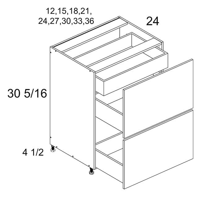 Two Drawer Base with Inner Drawer