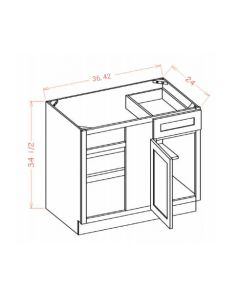 "Columbia Saddle 42"" Blind Base Corner Cabinet"