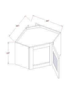 Shaker Grey 27X12X15 Diagonal Corner Stacker Wall Cabinets