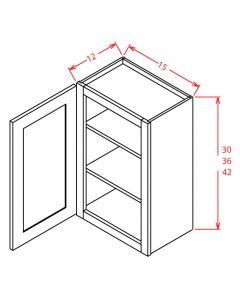 Shaker White 15x36 Single Glass Door Wall Cabinet