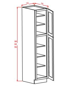 Shaker White 18x90x24 Two Door Pantry Cabinet