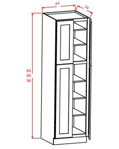 Shaker White 24x90x24 Four Door Pantry Cabinet