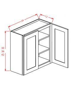 Shaker Grey  24x42 Double Glass Door Wall Cabinet