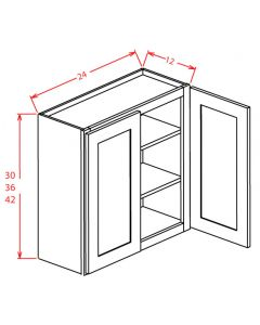 Yukon Chocolate 24x36 Double Glass Door Wall Cabinet