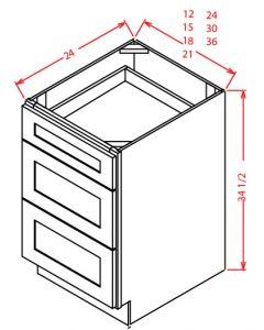 "Shaker White 36"" Three Drawer Base Cabinet"