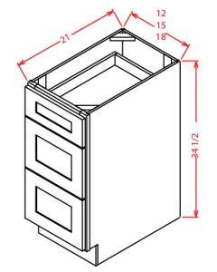 "Shaker Grey  12"" Three Drawer Vanity Base Cabinet"