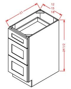 "Yukon Antique White 12"" Three Drawer Vanity Base Cabinet"