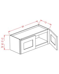 Shaker Grey  30x12 Double Door Wall Cabinet