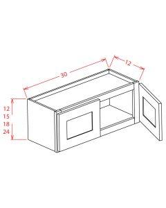 Shaker Grey  30x24 Double Door Wall Cabinet