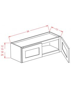 Shaker Grey  36x12 Double Door Wall Cabinet