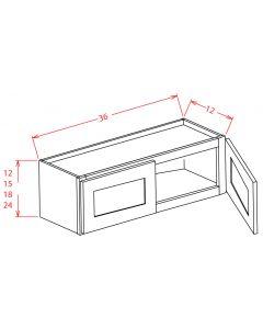 Shaker Grey  36x15 Double Door Wall Cabinet