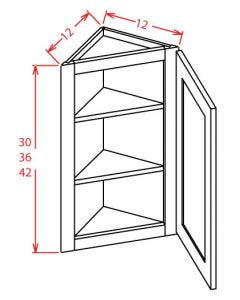 Shaker White 12x42 Wall End Angle Cabinet