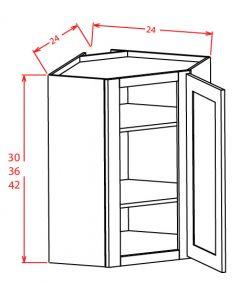 Shaker Grey  27x42 Wall Diagonal Glass Door Corner Cabinet