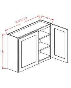 Shaker White 30x30 Double Door Wall Cabinet