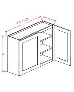 Shaker Grey  30x30 Double Glass Door Wall Cabinet