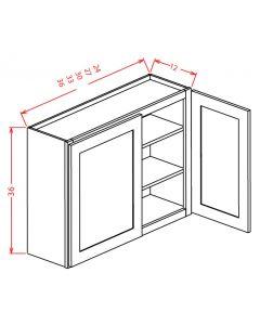 Columbia Saddle 30x36 Double Glass Door Wall Cabinet