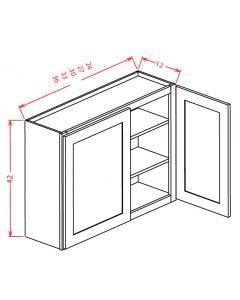 Shaker Grey  30x42 Double Glass Door Wall Cabinet