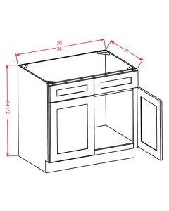 """Shaker Grey  36"""" Double Door Vanity Base Cabinet"""