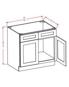 """Yukon Chocolate 30"""" Double Door Vanity Base Cabinet"""