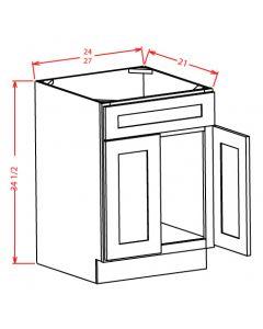 """Yukon Antique White 24"""" Double Door Vanity Base Cabinet"""