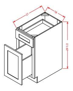"Shaker Grey  18"" Two Drawer File Base Cabinet"