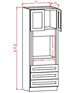 Shaker White 33x90x24 Universal Oven Cabinet