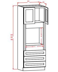 Shaker White 33x96x24 Universal Oven Cabinet