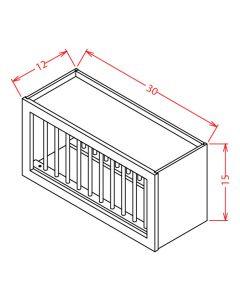 Shaker Grey  30x15 Wall Plate Rack Cabinet
