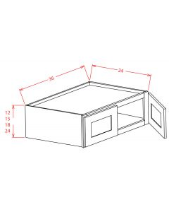 Shaker Grey  36x12x24 Double Door Refrigerator Wall Cabinet