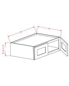 Shaker Grey  36x24x24 Double Door Refrigerator Wall Cabinet