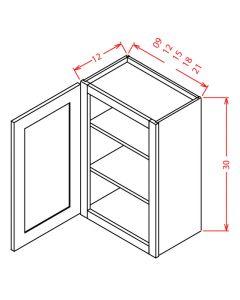 Shaker White 09x30 Single Door Wall Cabinet