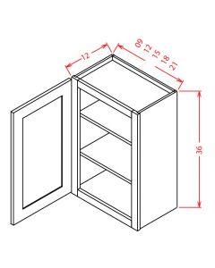Shaker White 09x36 Single Door Wall Cabinet