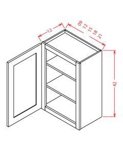 Shaker White 09x42 Single Door Wall Cabinet