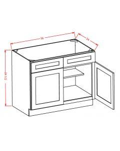 "Shaker White 36"" Double Door / Double False Drawer / Sink Base Cabinet"