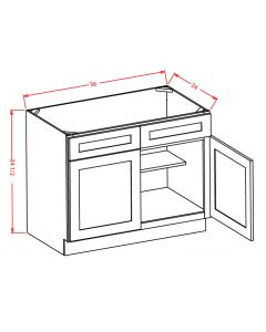 "Yukon Chocolate 36"" Double Door / Double False Drawer / Sink Base Cabinet"