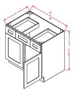 """Shaker White 36"""" Double Door / Double Drawer / Single False Drawer"""