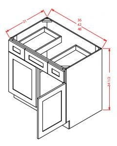 "Shaker Grey  48"" Double Door / Double Drawer / Single False Drawer"