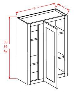 Shaker White  27x42 Blind Wall Corner Cabinet