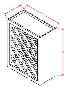 Shaker Grey  24x30 Wall Wine Rack Cabinet