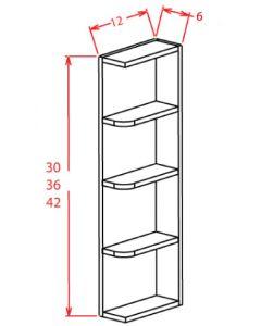 Shaker Grey  6x42 Reversible Wall End Shelf