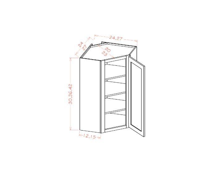 "Diagonal Corner Wall Cabinets- 27""W"